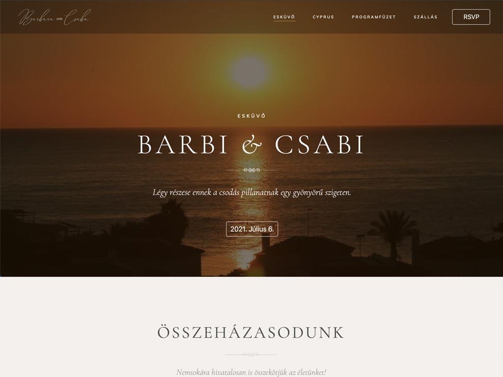Weboldal készítés: Barbi és Csabi esküvői weboldal